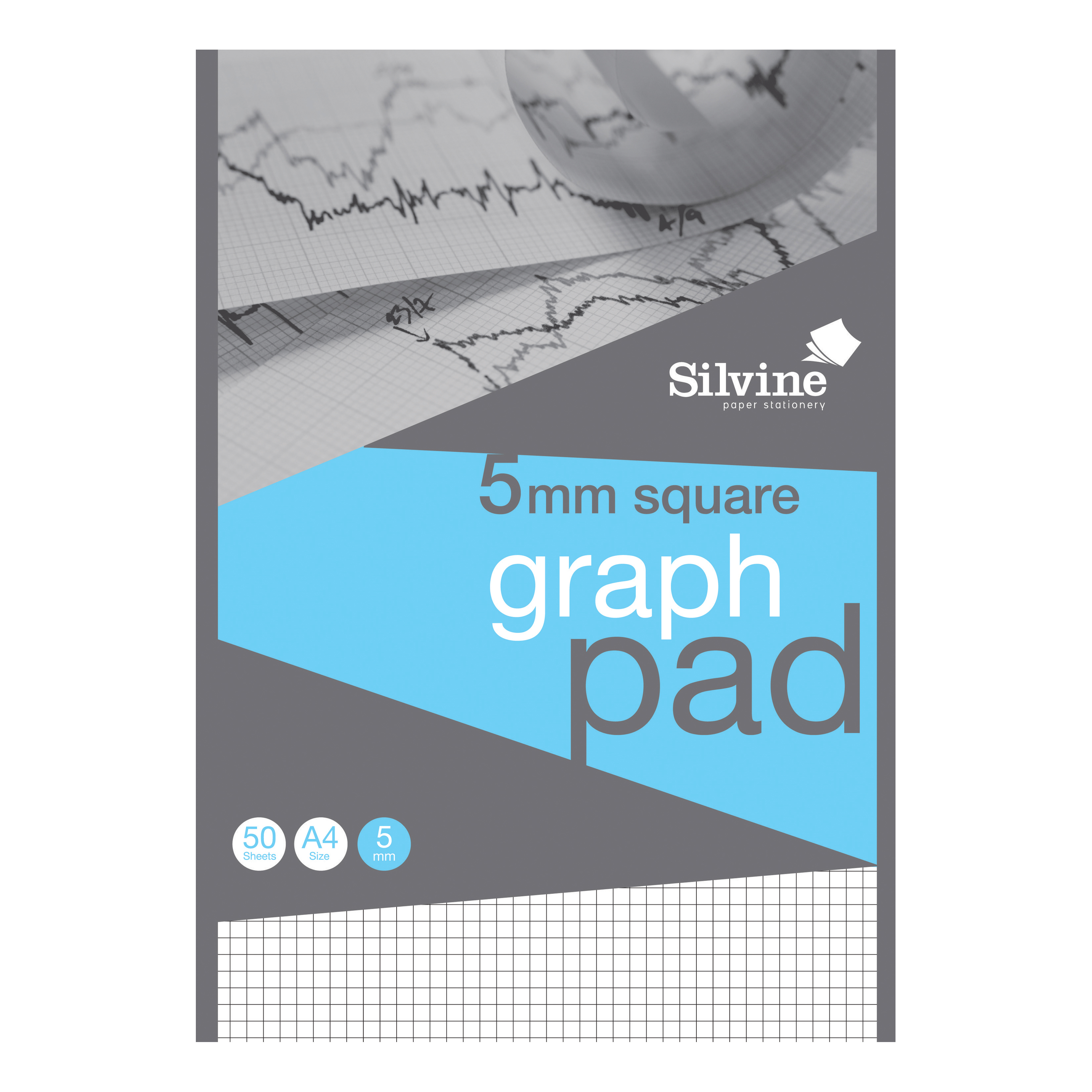 Silvine Student Graph Pad 90gsm 5mm Quadrille 50 Sheets A4 Ref A4GPX-10 [Pack 10] [COMPETITION]