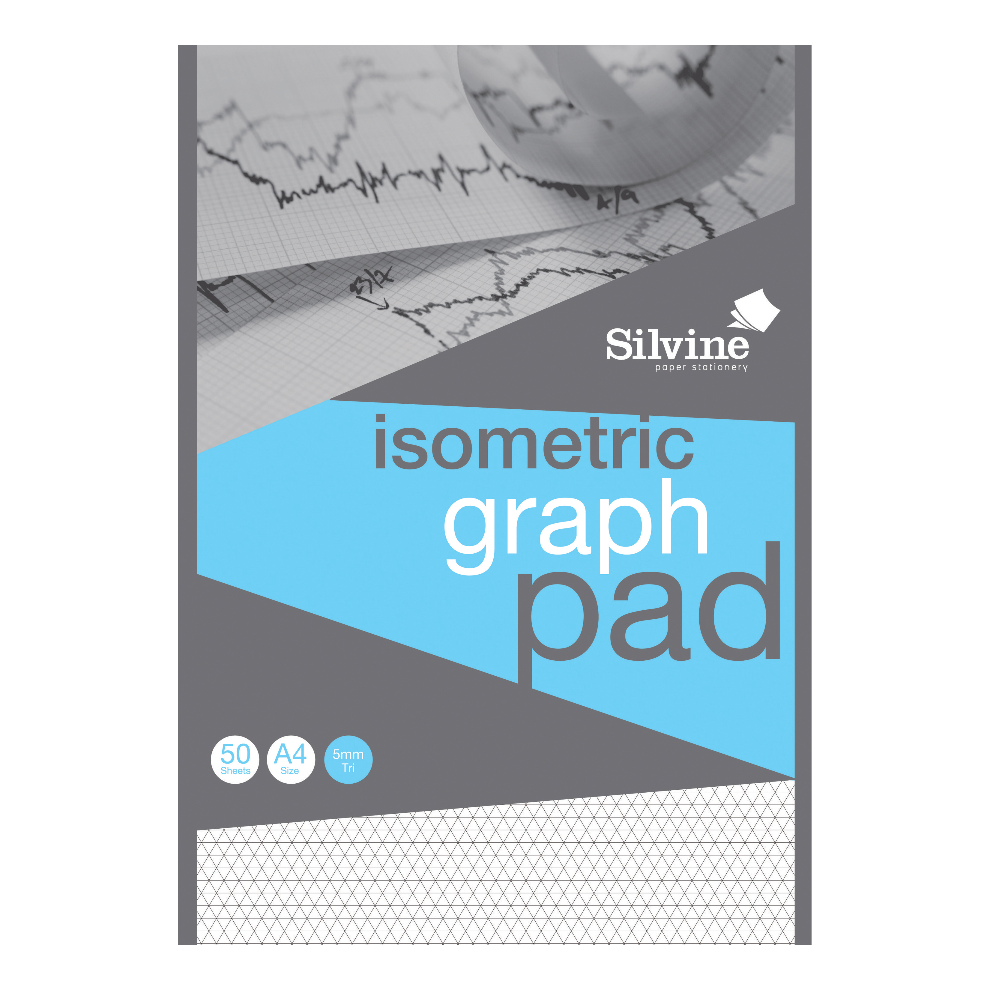 Silvine Student Graph Pad 90gsm 5mm Isometric 50 Sheets A4 Ref A4GPISO [COMPETITION]