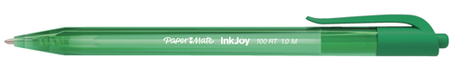 Paper Mate Inkjoy 100 Retractable Ballpoint Pen Medium 1.0mm Tip Green Ref S0957060 [Pack 20]