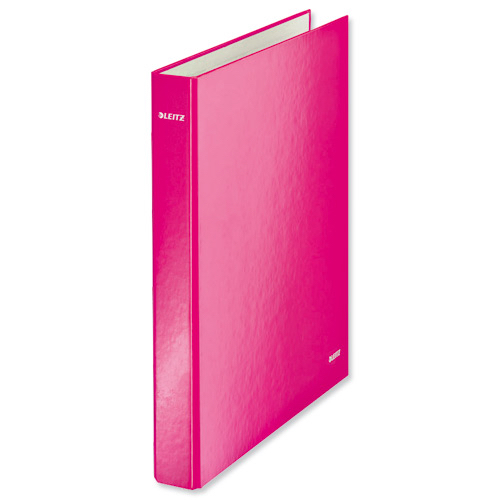 Leitz WOW Ring Binder 2 D-Ring 25mm Size A4 Pink Ref 42410023 [Pack 10]
