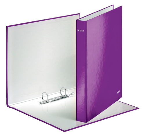 Leitz WOW Ring Binder 2 D-Ring 25mm Size A4 Purple Ref 42410062 [Pack 10]