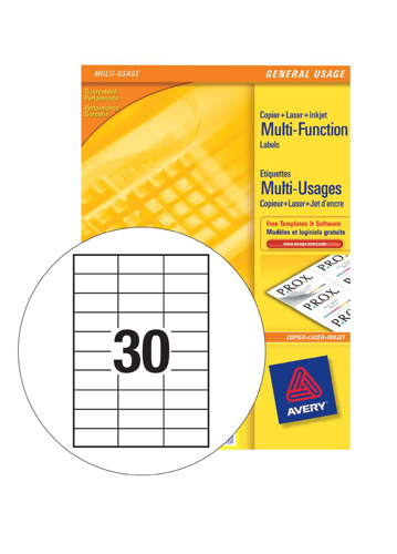 Avery White Copier Labels 30 per Sheet 70x29.7mm White Ref 3489 [3000 Labels]