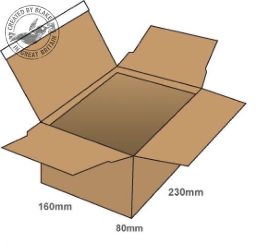 Blakes Postal Box Peel & Seal WxDxH 230x160x80mm Kraft Ref PEB30 [Pack 20]