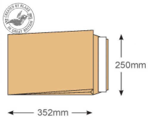 Blake Purely Packaging Gusset Pocket P&S B4 352x250mm Manilla Ref 45070 [Pk125] *3 to 5 Day Leadtime*