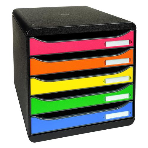 Exacompta Big Box Plus 5-Drawer Storage Set Stackable Label Holders A4plus Harlequin Ref 309798D