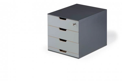 Durable Coffee Point Box with Integrated Cylinder Lock Charcoal Ref 338558