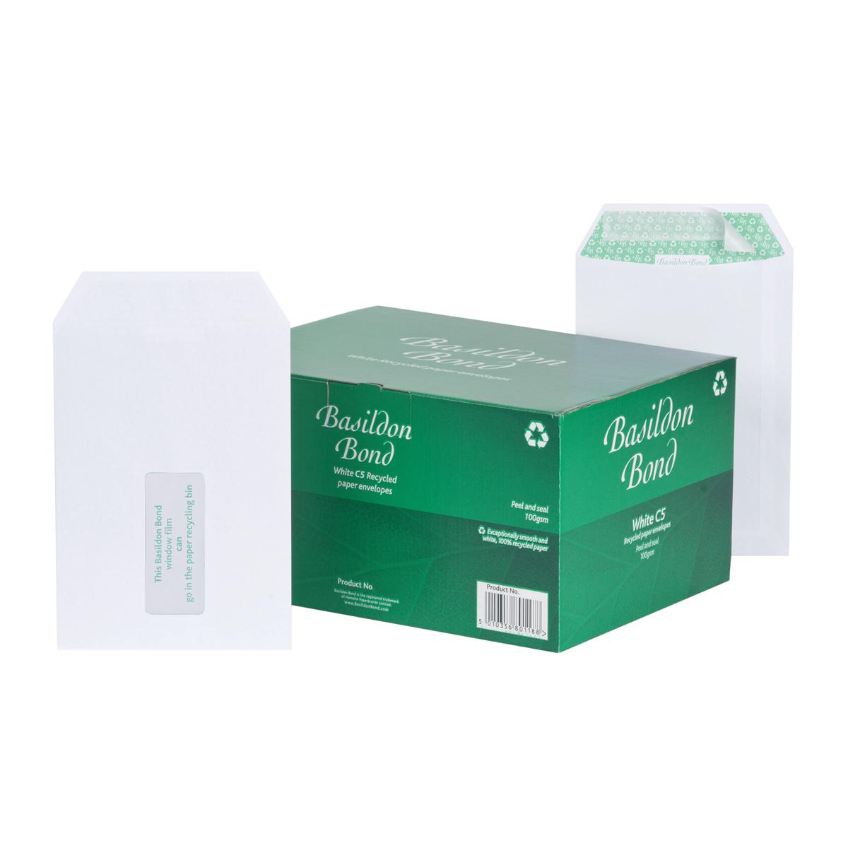 Basildon Bond Envelopes FSC Recycled Pocket P&S Window 120gsm C5 White Ref J80119 Pack 500
