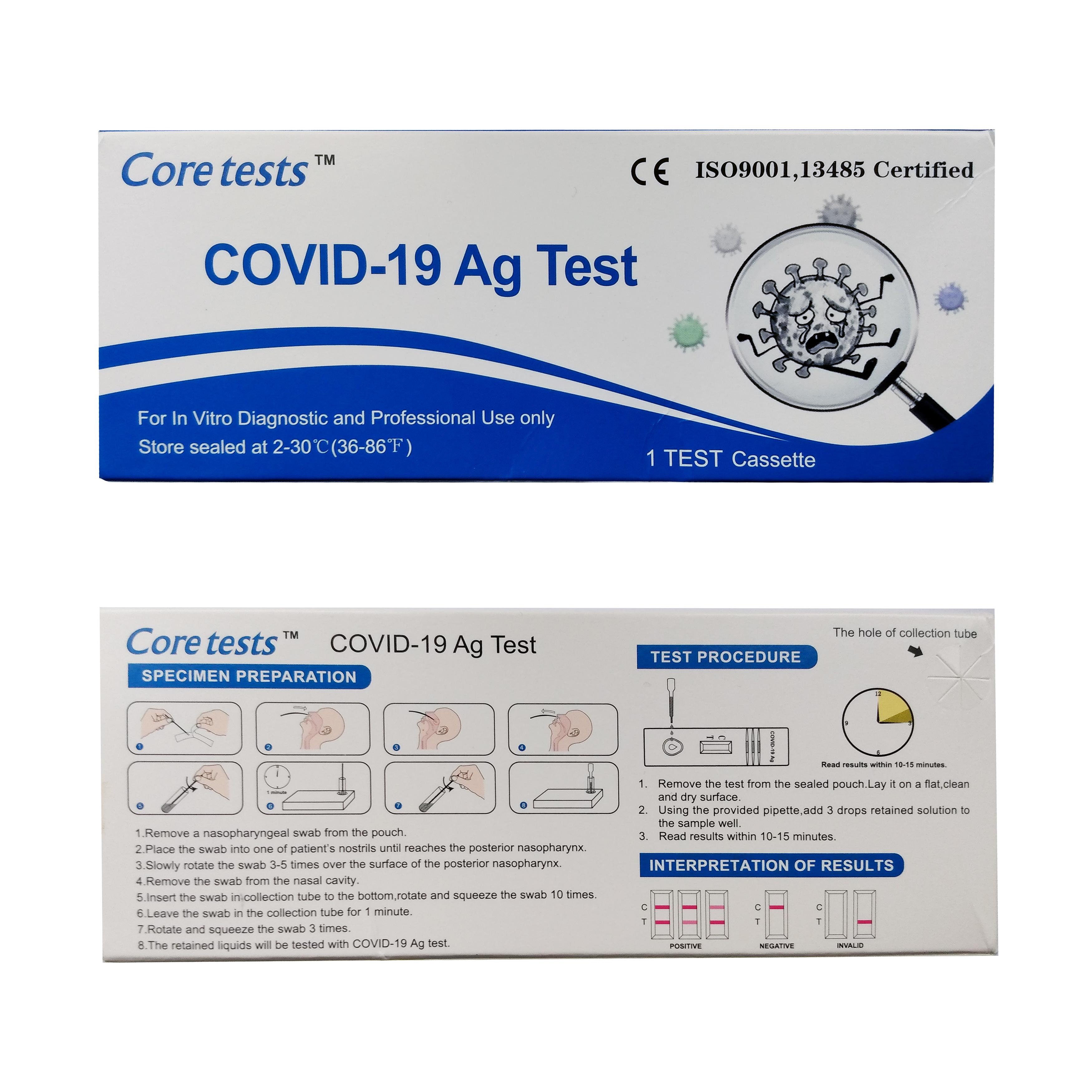 Core Antigen Coronavirus Lateral Flow 10-15 Minute Rapid Test Kit Each