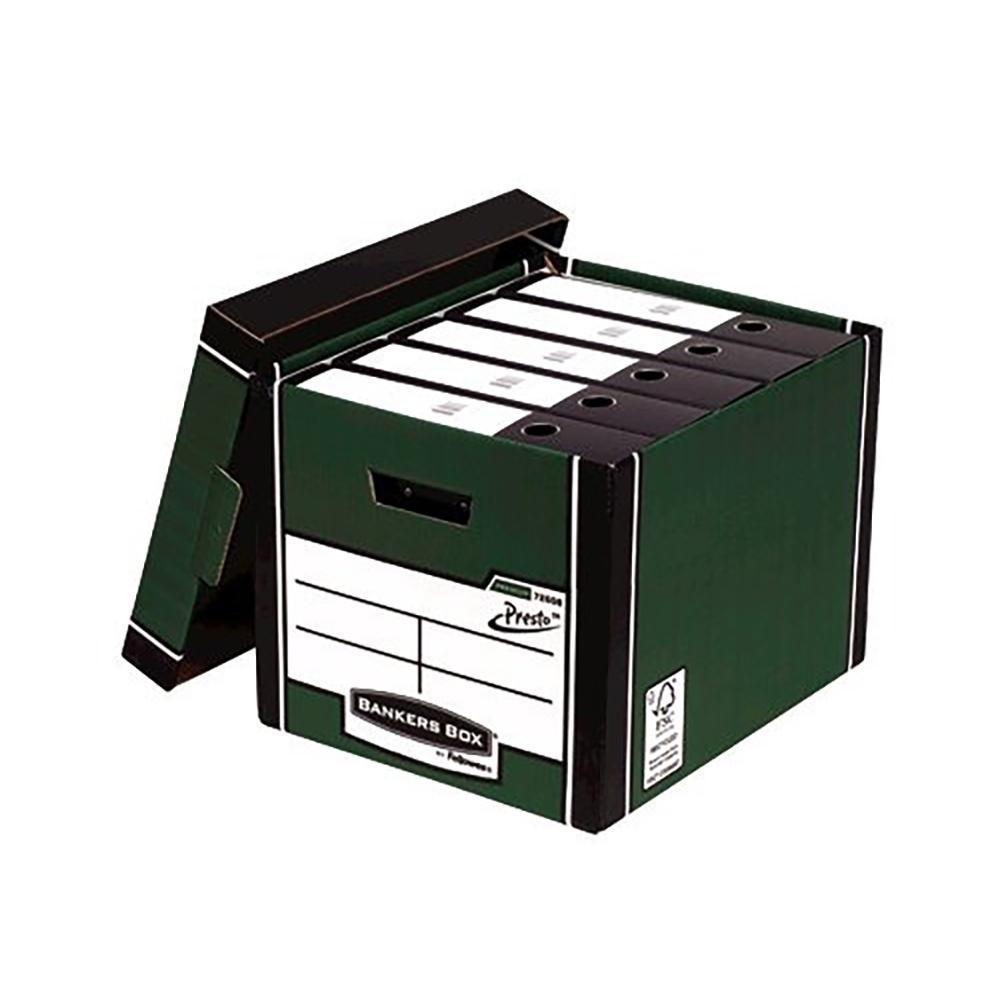 Bankers Box Premium Storage Box (Presto) Tall Green FSC Ref 7260803 [Pack 12] [12 for the price of 10]