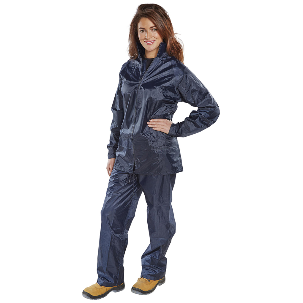 Weatherproof Rainsuit Polyester/PVC with Elasticated Waisted Trousers Large Navy Ref NBDSNL *Approx 3 Day Leadtime*