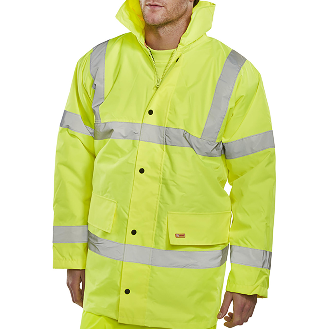 Body Protection BSeen High Visibility Constructor Jacket Large Saturn Yellow Ref CTJENGSYL *Approx 3 Day Leadtime*