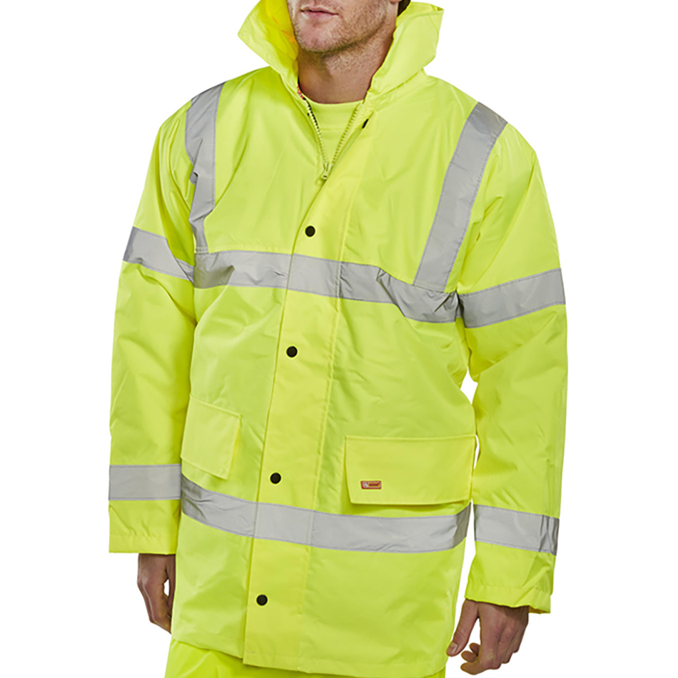 Body Protection BSeen High Visibility Constructor Jacket XL Saturn Yellow Ref CTJENGSYXL *Approx 3 Day Leadtime*