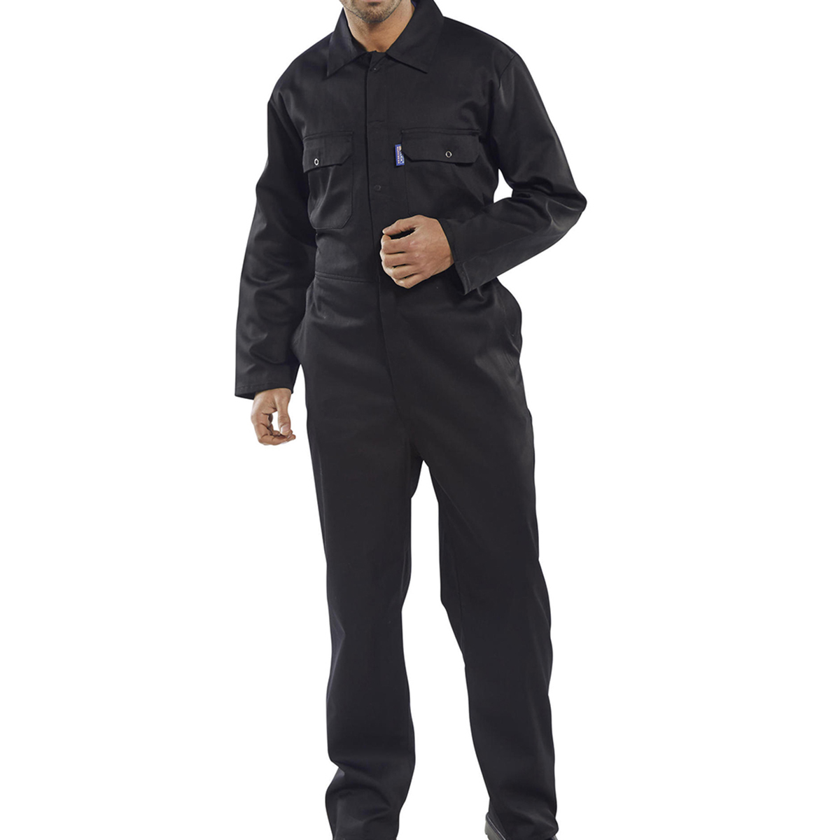 Coverall Basic with Popper Front Opening Polycotton Extra Large Navy Ref RPCBSN48 *Approx 3 Day Leadtime*