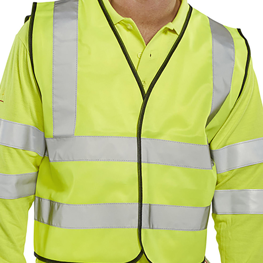 High Visibility Bseen High Visibility Waistcoat Full App Large Yellow/Black Piping Ref WCENGL