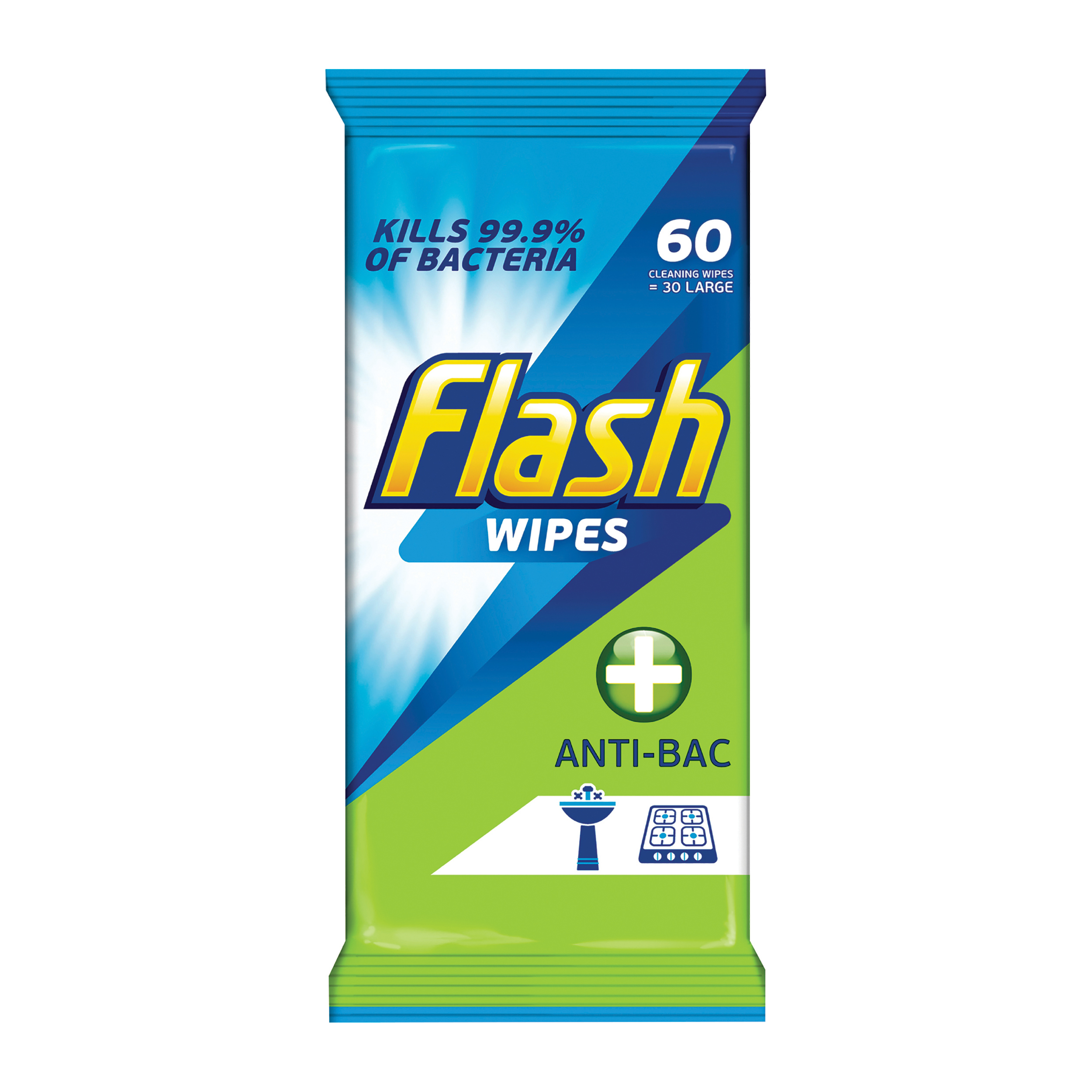 Flash Cleaning Wipes Unscented Antibacterial Ref 0706065 60 Wipes