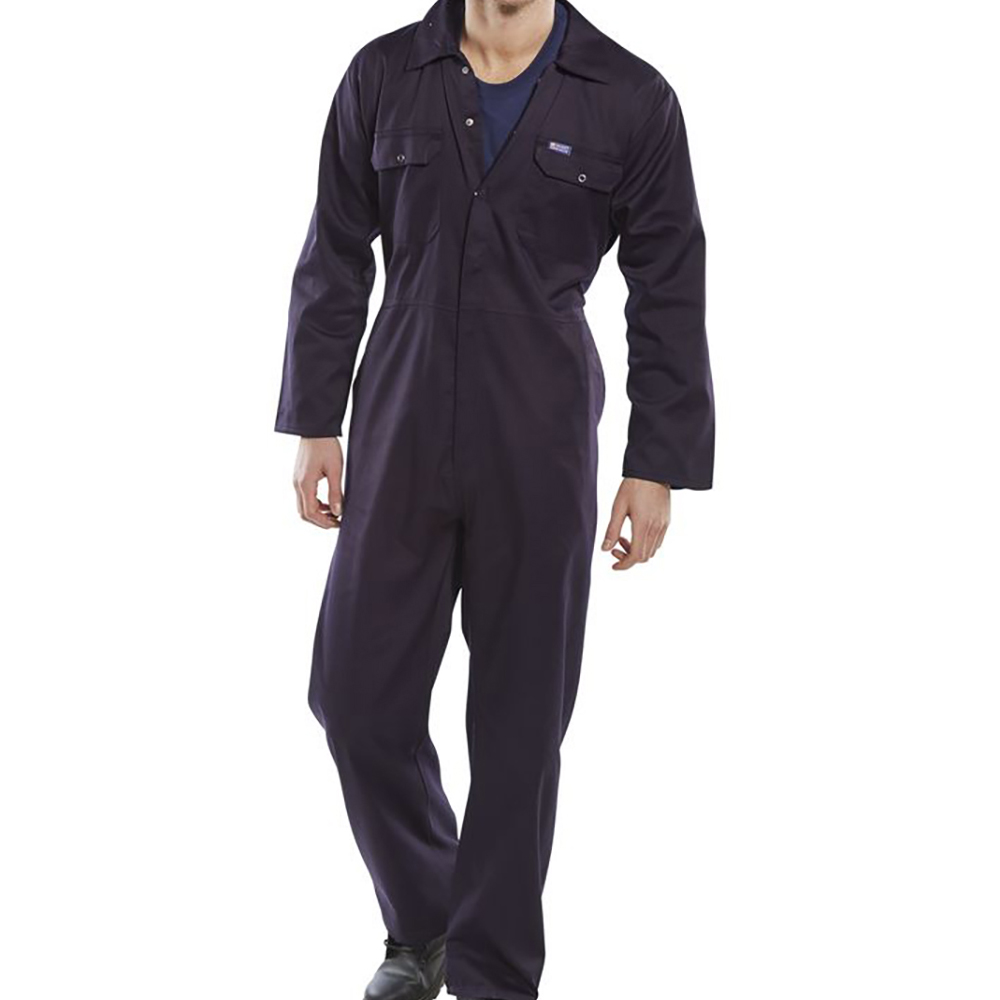 Coveralls / Overalls Coverall Basic with Popper Front Opening Polycotton Large Navy Ref RPCBSN44 *Approx 3 Day Leadtime*