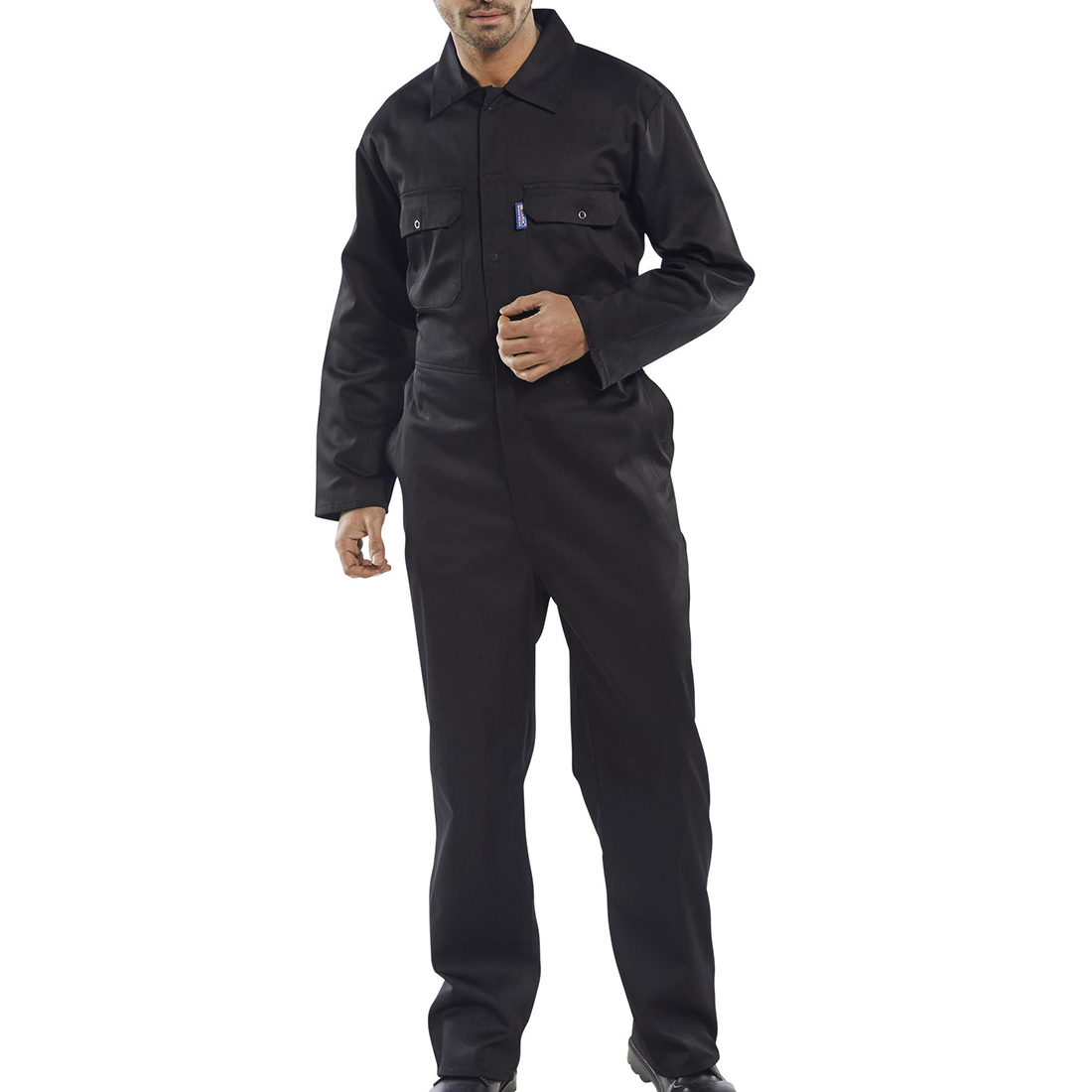 Coverall Basic with Popper Front Opening Polycotton XXXXLarge Black Ref RPCBSBL54 *Approx 3 Day Leadtime*