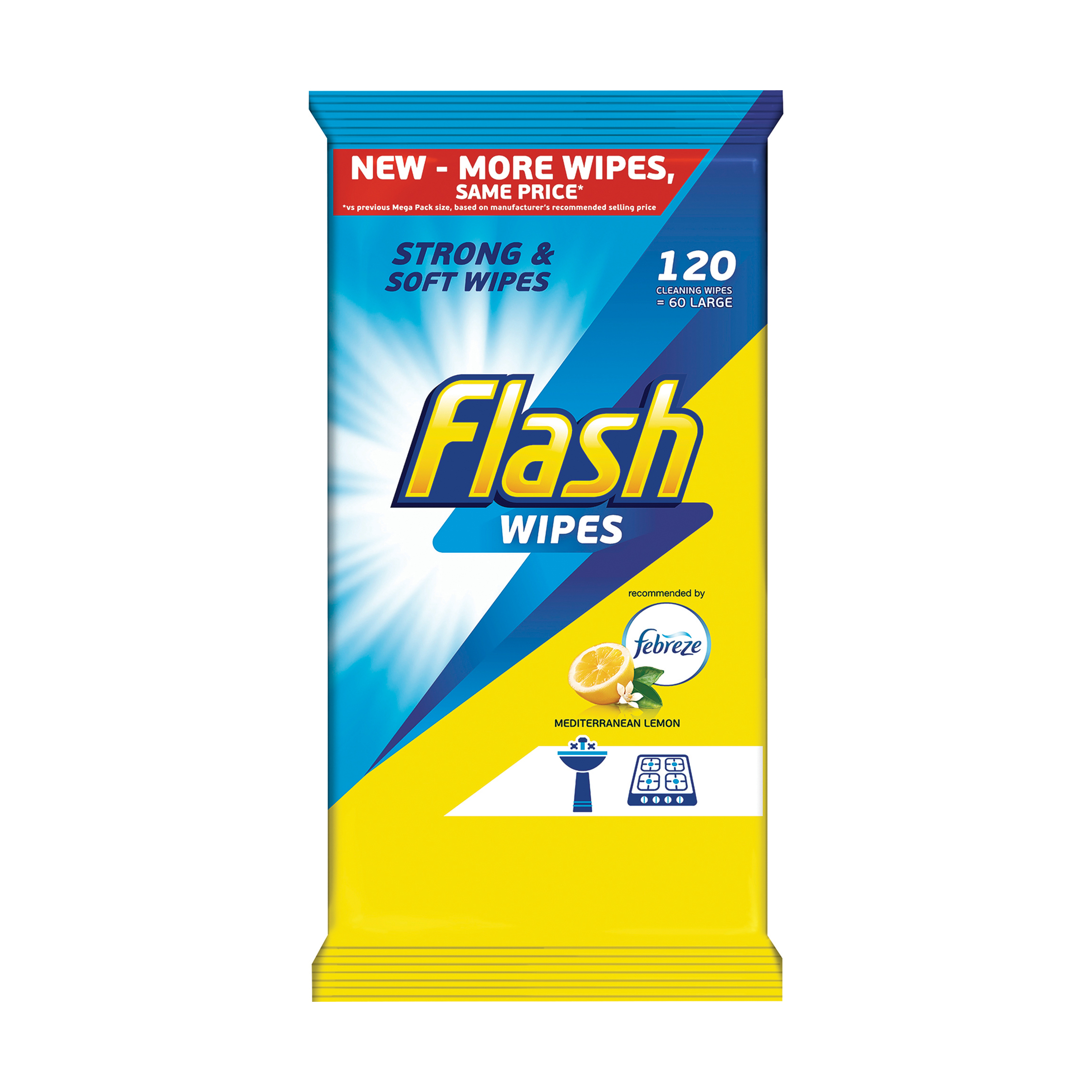 Flash All Purpose Cleaning Wipes Lemon Fragrance Pack 120