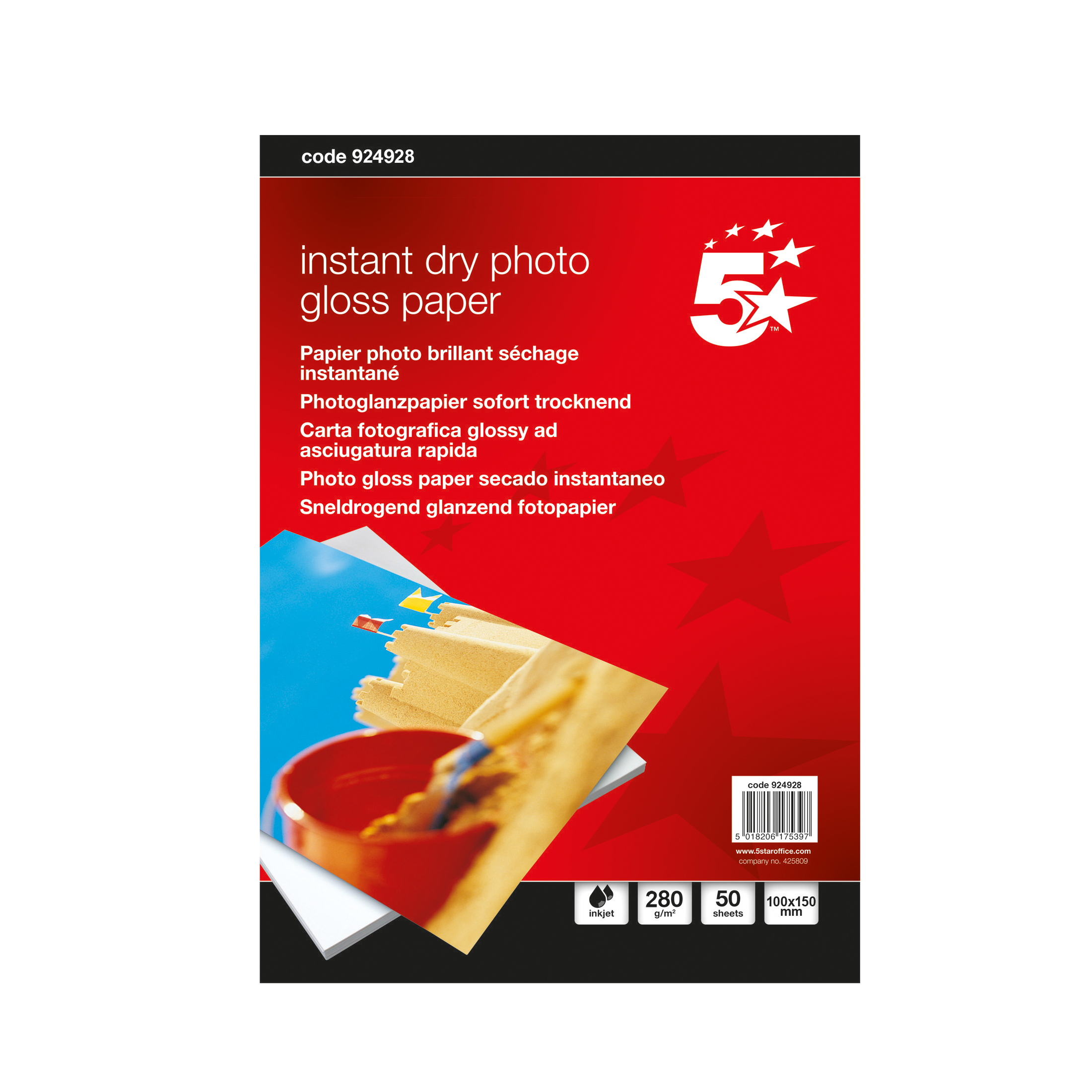 5 Star Office Paper Inkjet Photo Gloss Fast Drying 280gsm 100x150mm [50 Sheets]