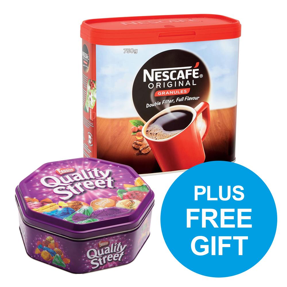 Nescafe Original Instant Coffee Granules Tin 750g Ref 12315566 x2 & FREE Quality Street Oct-Dec 2018