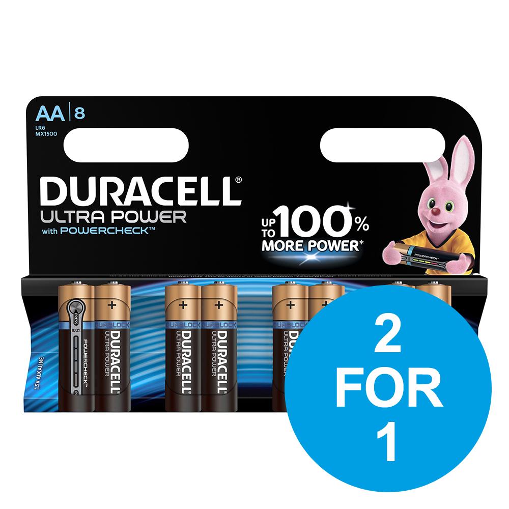 Duracell Ultra Power MX1500 Battery Alkaline 1.5V AA Ref 81235497 [Pack 8] [2 for 1] Dec 2018