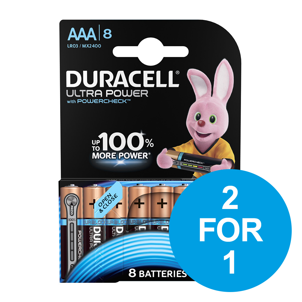 Duracell Ultra Power MX2400 Battery Alkaline 1.5V AAA Ref 81235515 [Pack 8] [2 for 1] Dec 2018