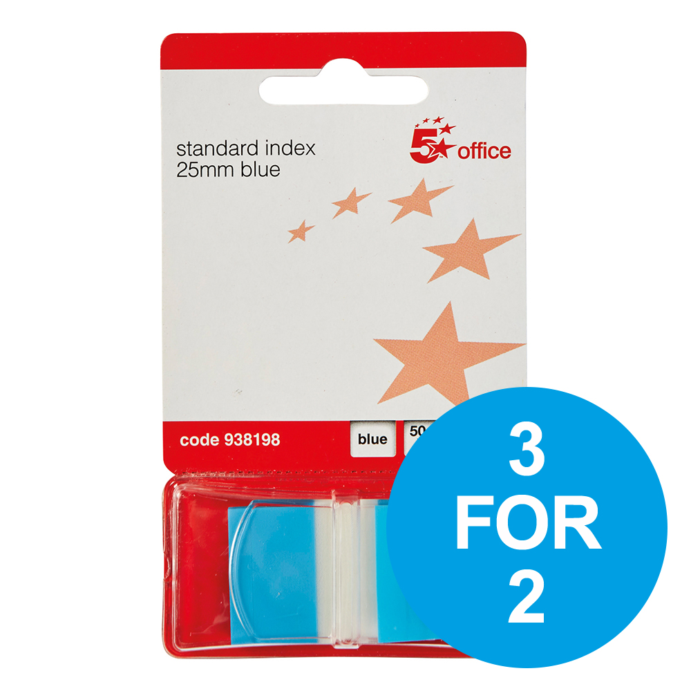 5 Star Office Standard Index Flags 25x45mm Blue [Pack 5] [3 for 2] Nov 2018