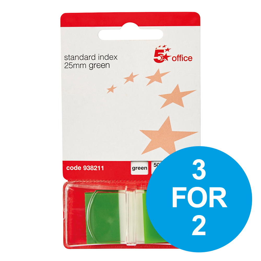 5 Star Office Standard Index Flags 50 Sheets per Pad 25x45mm Green [Pack 5] [3 for 2] Nov 2018