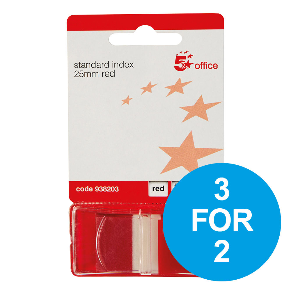 5 Star Office Standard Index Flags 50 Sheets per Pad 25x45mm Red [Pack 5] [3 for 2] Nov 2018