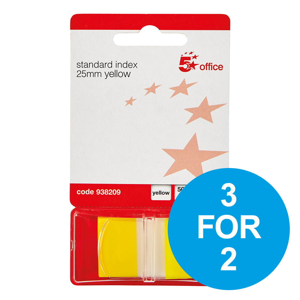 5 Star Office Standard Index Flags 50 Sheets per Pad 25x45mm Yellow Pack 5 3 for 2 Nov 2018