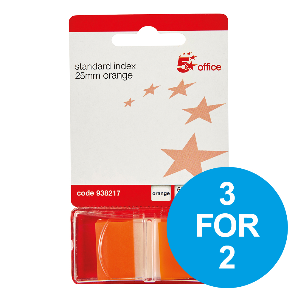 5 Star Office Standard Index Flags 50 Sheets per Pad 25x45mm Orange Pack 5 3 for 2 Nov 2018