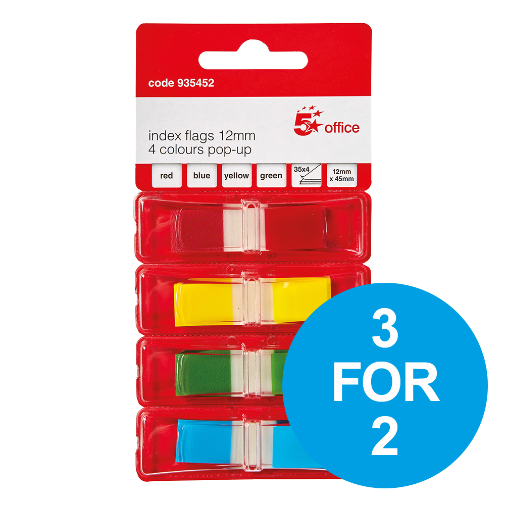 5 Star Office Index Flags 4 Bright Colours 35 Flags per Colour Assorted Pack 5 3 for 2 Nov 2018