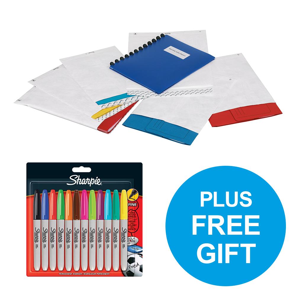 Tyvek Pocket Envelopes Strong C4 55gsm P&S White Ref 11782 Pack 100 FREE Marker Pens Oct-Dec 2018