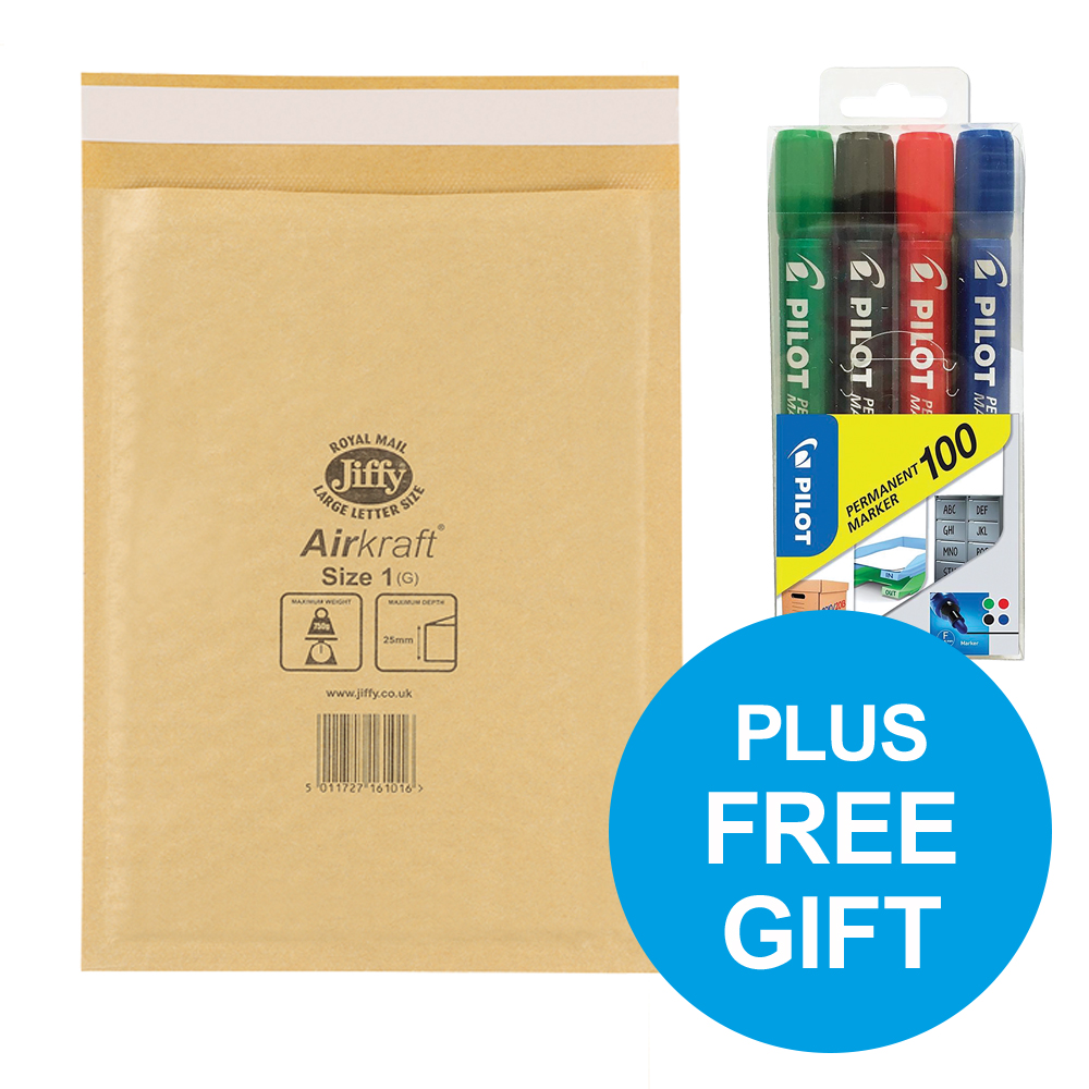 Jiffy Airkraft Bubble Envelopes Size 1 Gold Ref JL-GO-1 [Pack 100] [FREE Permanent Markers] Oct-Dec 2018