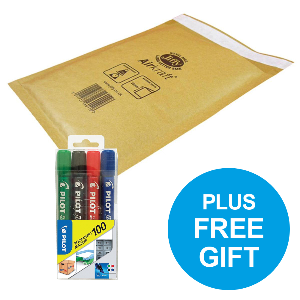 Jiffy Airkraft Bubble Bag Envelopes Size 4 P&S Gold Ref JL-GO-4 Pack 50 FREE Marker Pens Oct-Dec 2018