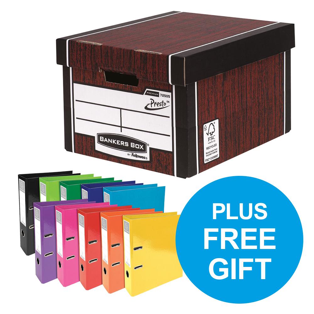 Bankers Box Premium Classic Woodgrain FSC Ref 7250503 Pack 12 x2 & FREE Lever Arch Oct-Dec 2018