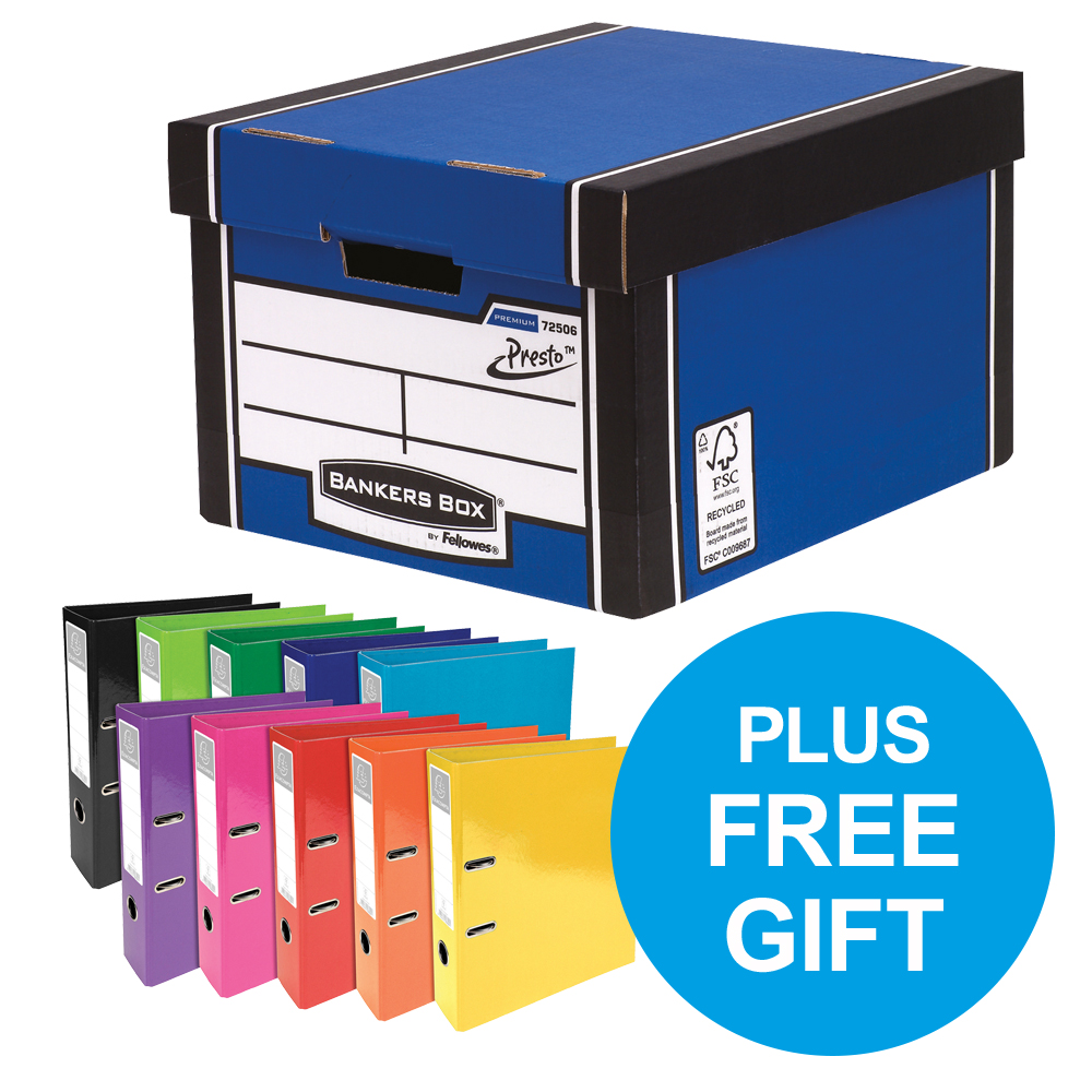 Bankers Box Premium Classic Blue FSC Ref 7250603 Pack 12 x2 & FREE Lever Arch Oct-Dec 2018