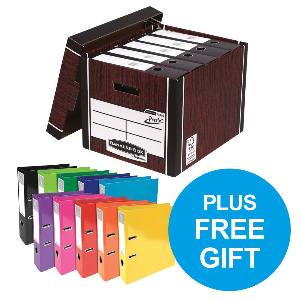 Bankers Box Premium Tall Woodgrain FSC Ref 7260503 Pack 12 x2 & FREE Lever Arch Oct-Dec 2018
