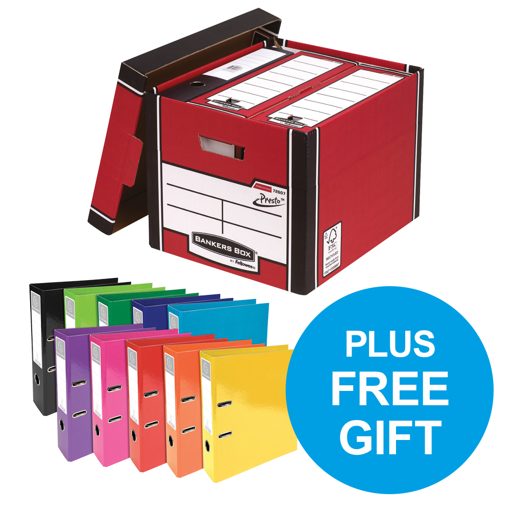 Bankers Box Premium Storage Box Tall Red FSC Ref 7260703 Pack 12 x2 & FREE Lever Arch Oct-Dec 2018