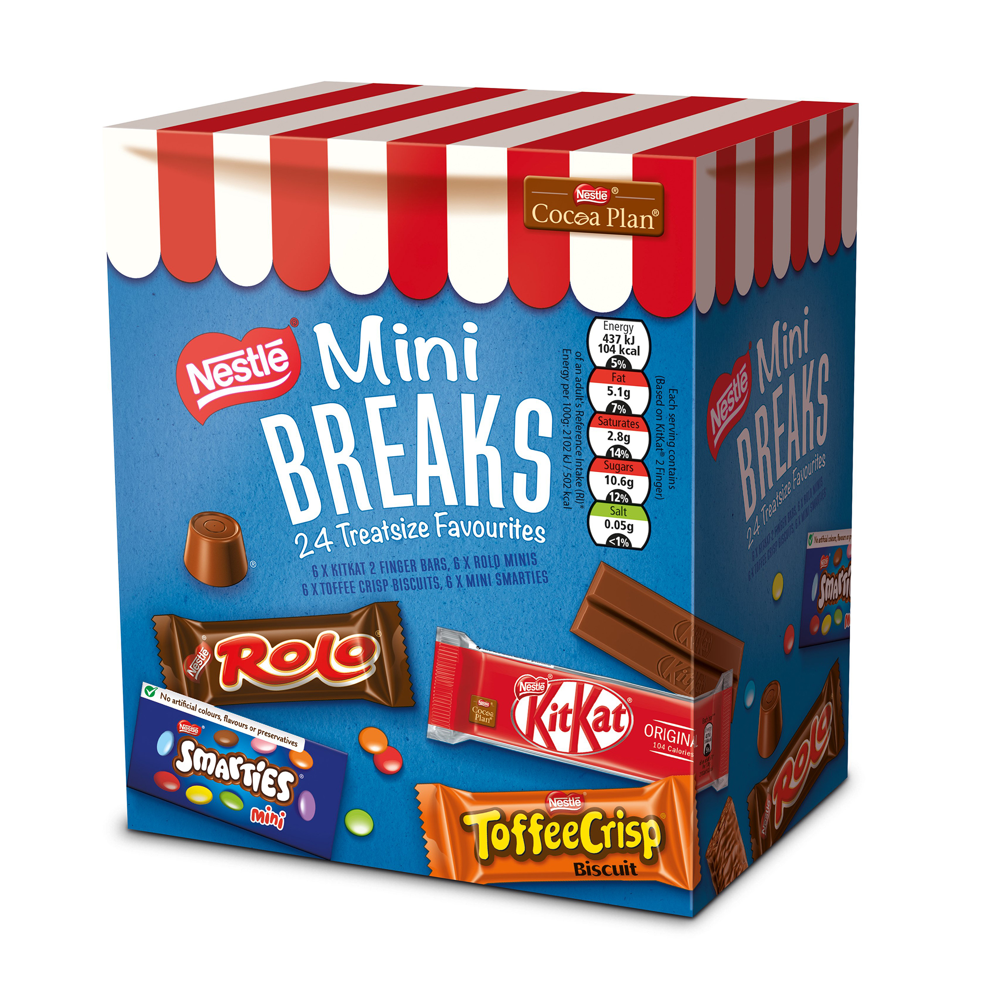 Chocolate or chocolate substitute candy Nestle Mini Breaks Assorted 4 Varieties Ref 12369978 Pack 24
