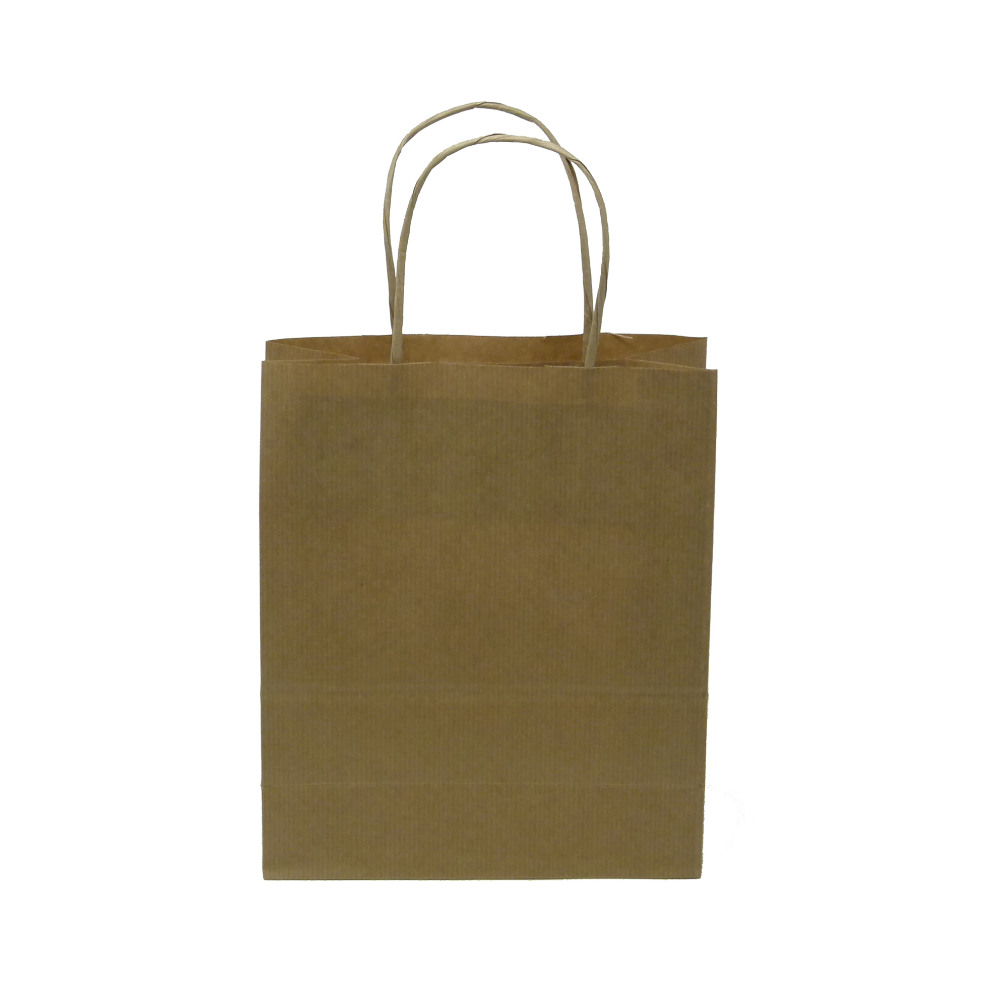 Plastic bags Kraft Paper Carrier Bag Twisted Handles Small 180x215x80mm 90g Natural Brown Ref 12925 [Pack 100]