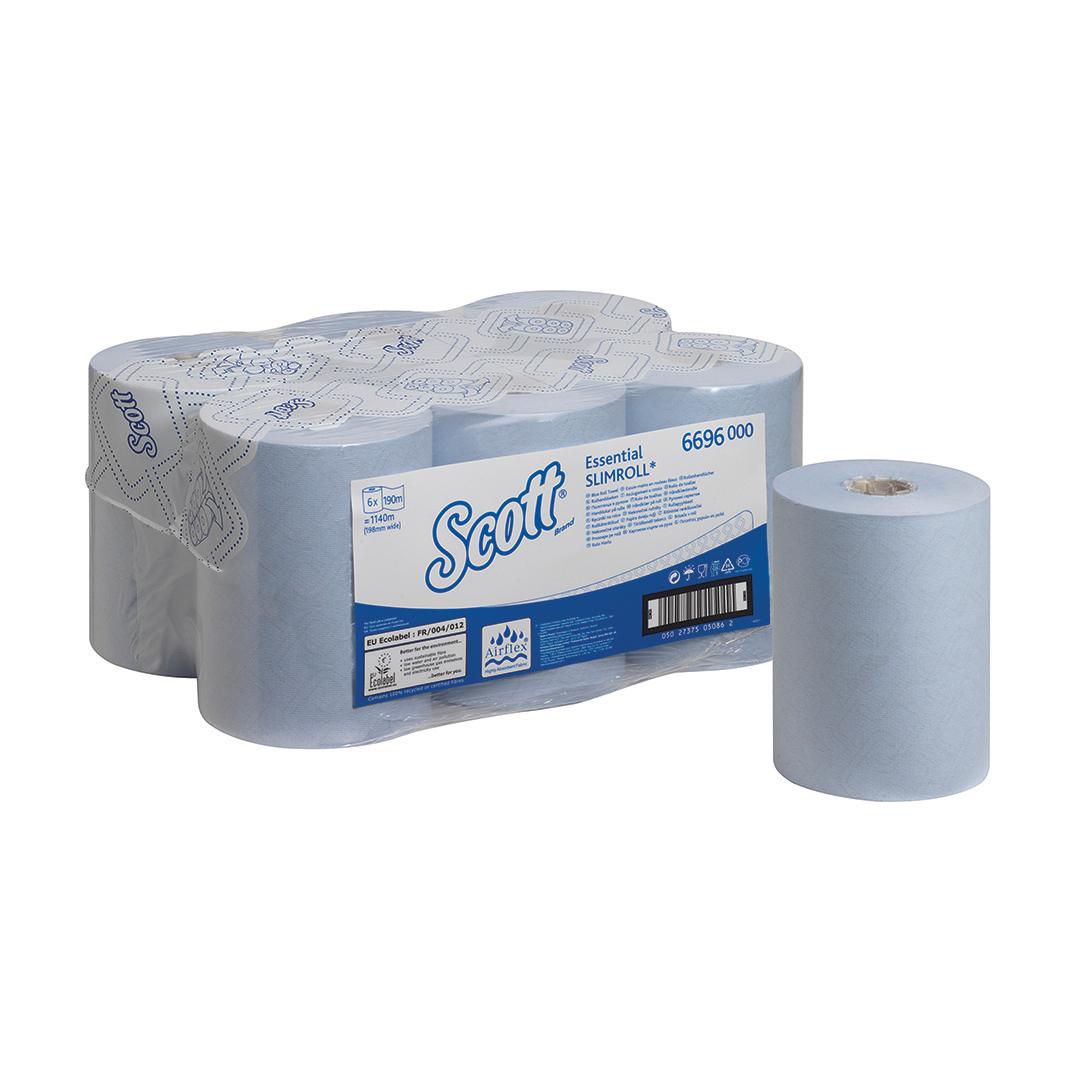 SCOTT 6696 Essentials Slimroll Hand Towel Roll 198mmx190m 1-Ply Blue Ref 6696 Pack 6