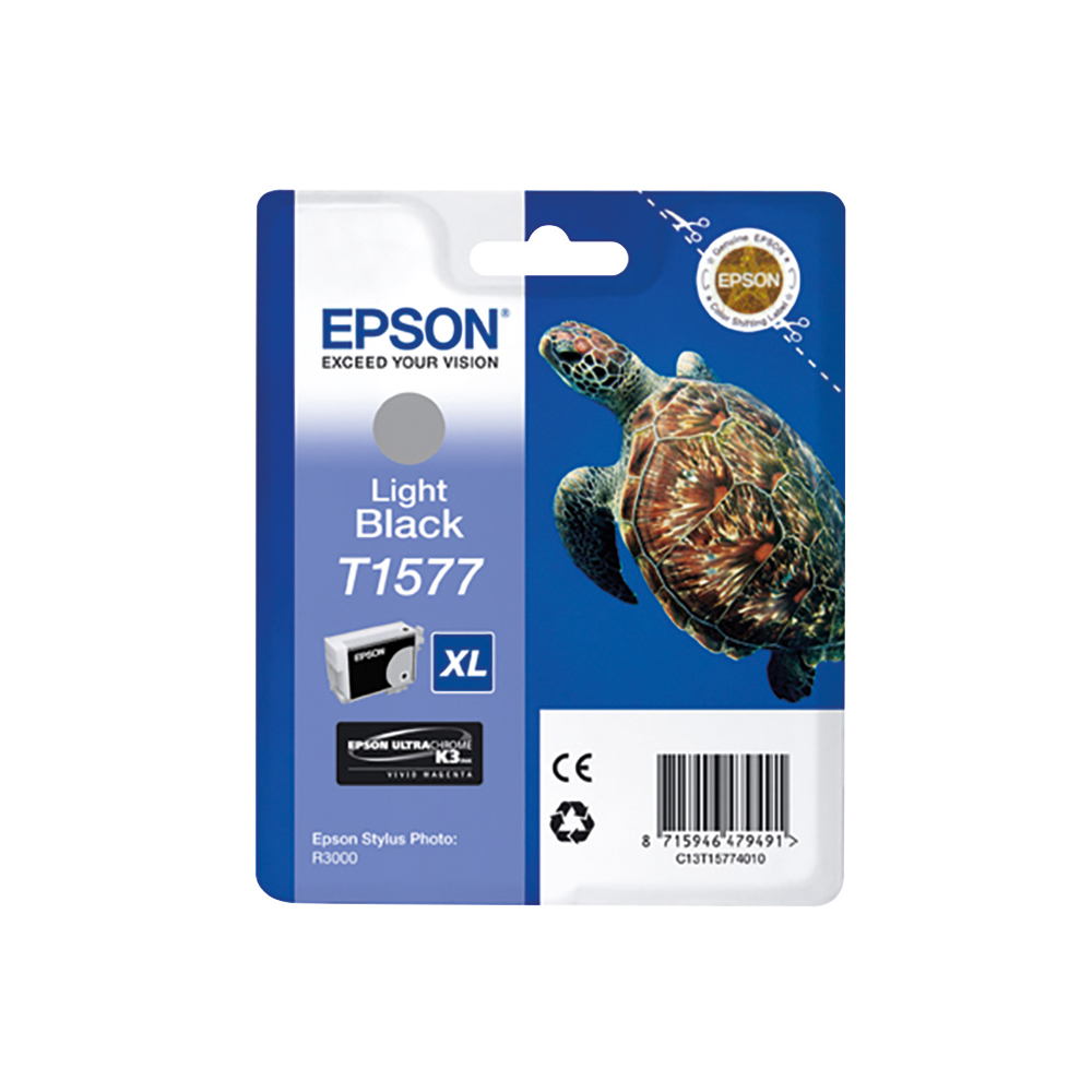 Epson T1577 Inkjet Cartridge XL Turtle Capacity 25.9ml Light Black C13T15774010