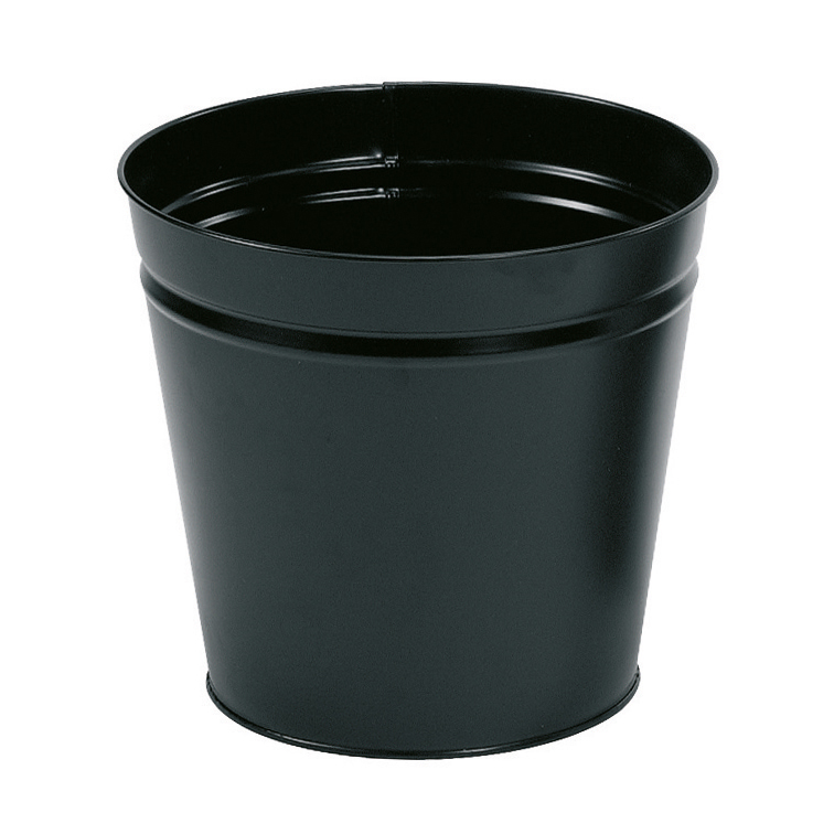 Rubbish Bins 5 Star Facilities Waste Bin Round Metal Scratch Resistant 15 Litre Capacity 300x280mm Black