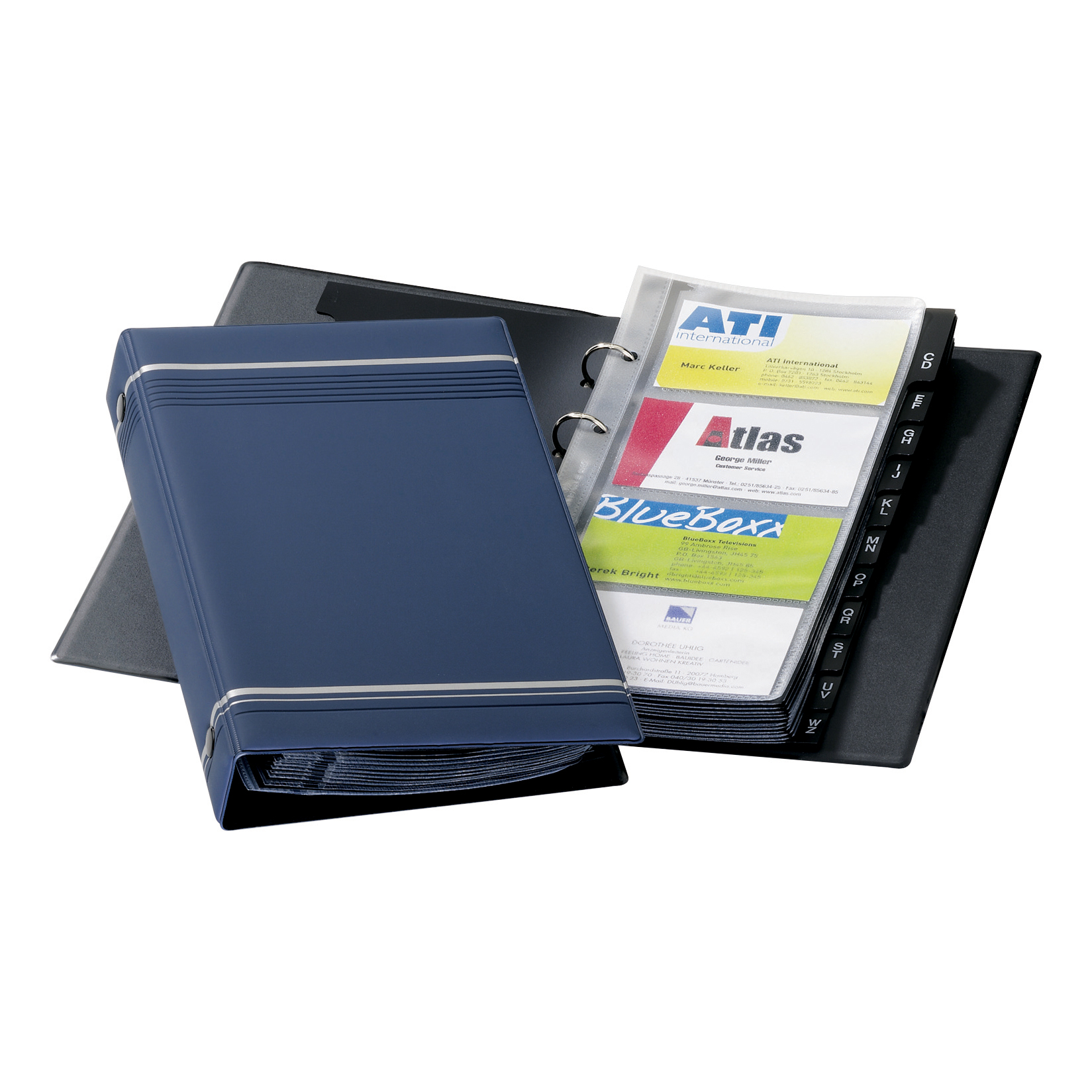 Image for Durable Visifix Business Card Album 4-ring A-Z Index Capacity 200 W145xH255mm Dark Blue Ref 2385-07