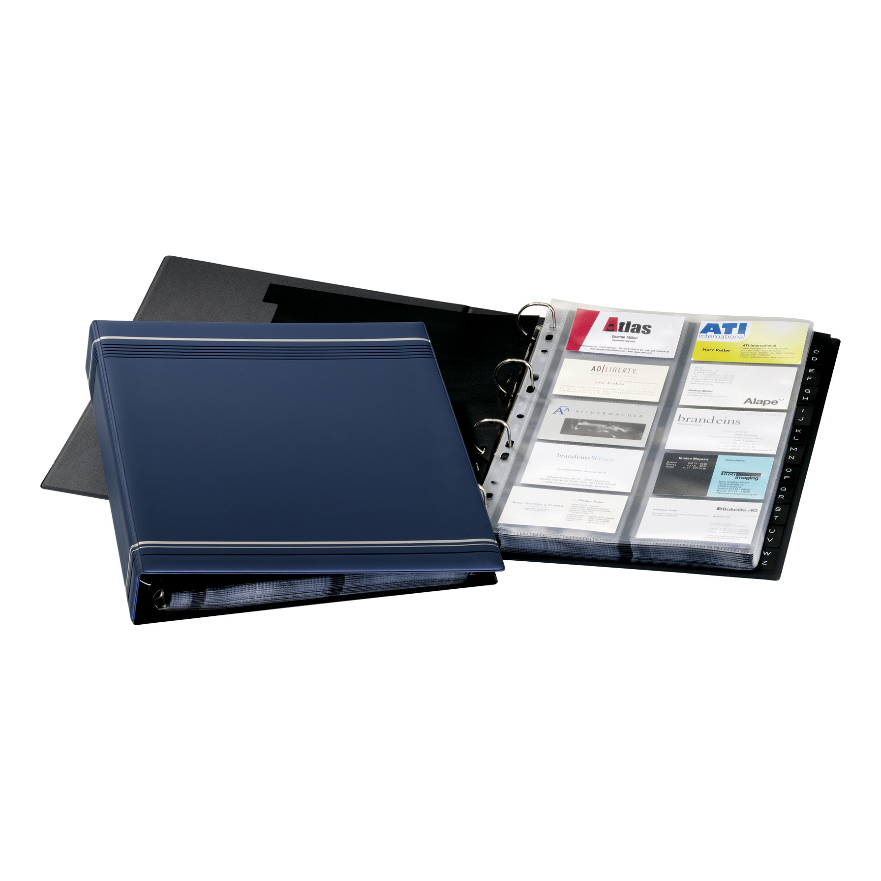 Image for Durable Visifix Business Card Album 4 Ring A-Z Index Capacity 400 A4 Dark Blue Ref 2388-07 (0)