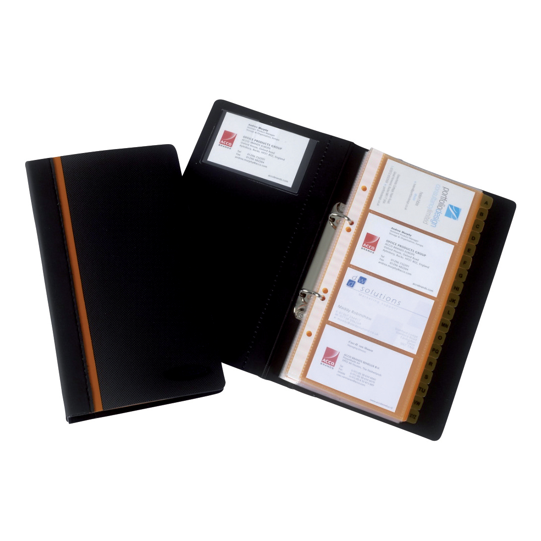 Binders Rexel Business Card Book Professional Ring Binder with A-Z Index Capacity 128 Cards Ref 2101131