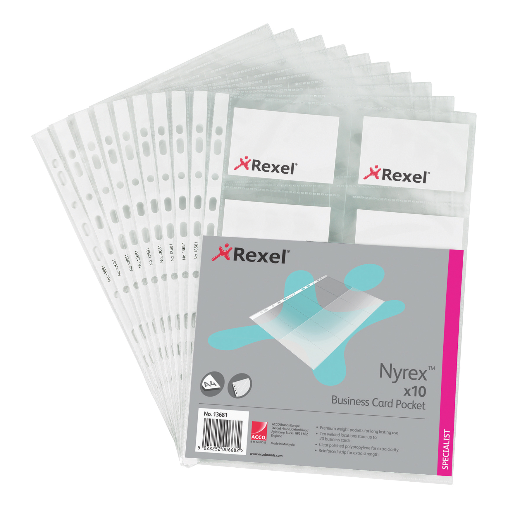 Rexel Nyrex Business Card Pocket Multipunched A4 Clear Ref 13681 [Pack 10]