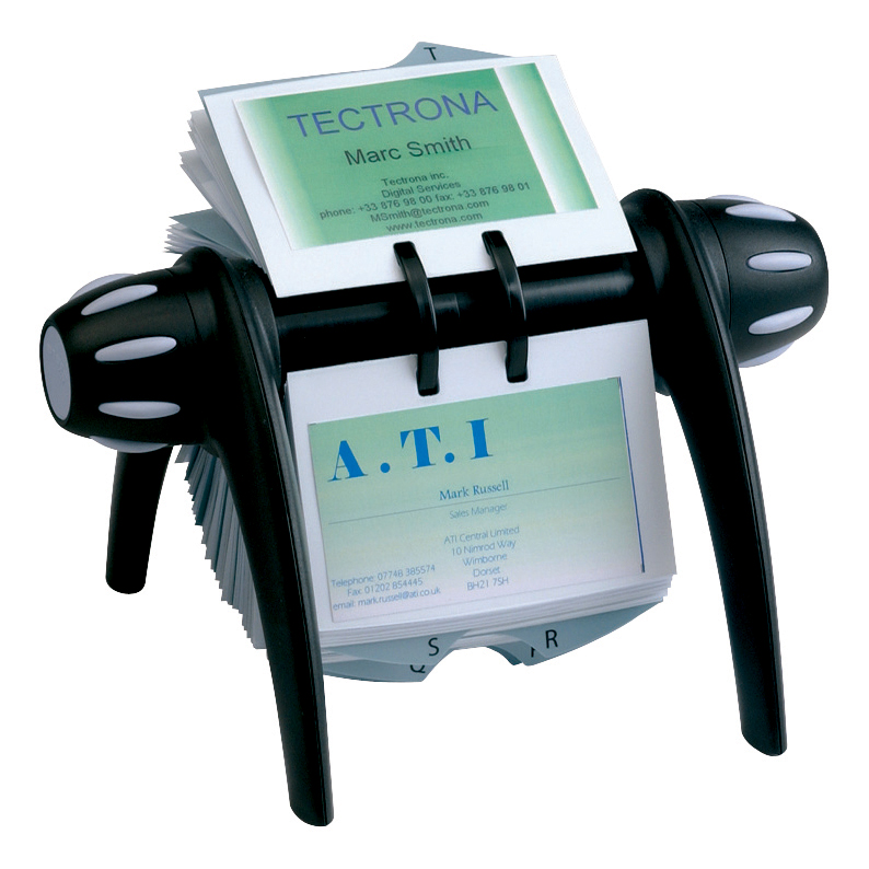 Image for Durable Visifix Flip Rotary File with 200 Pockets for 400 Business Cards Black Ref 2417/01