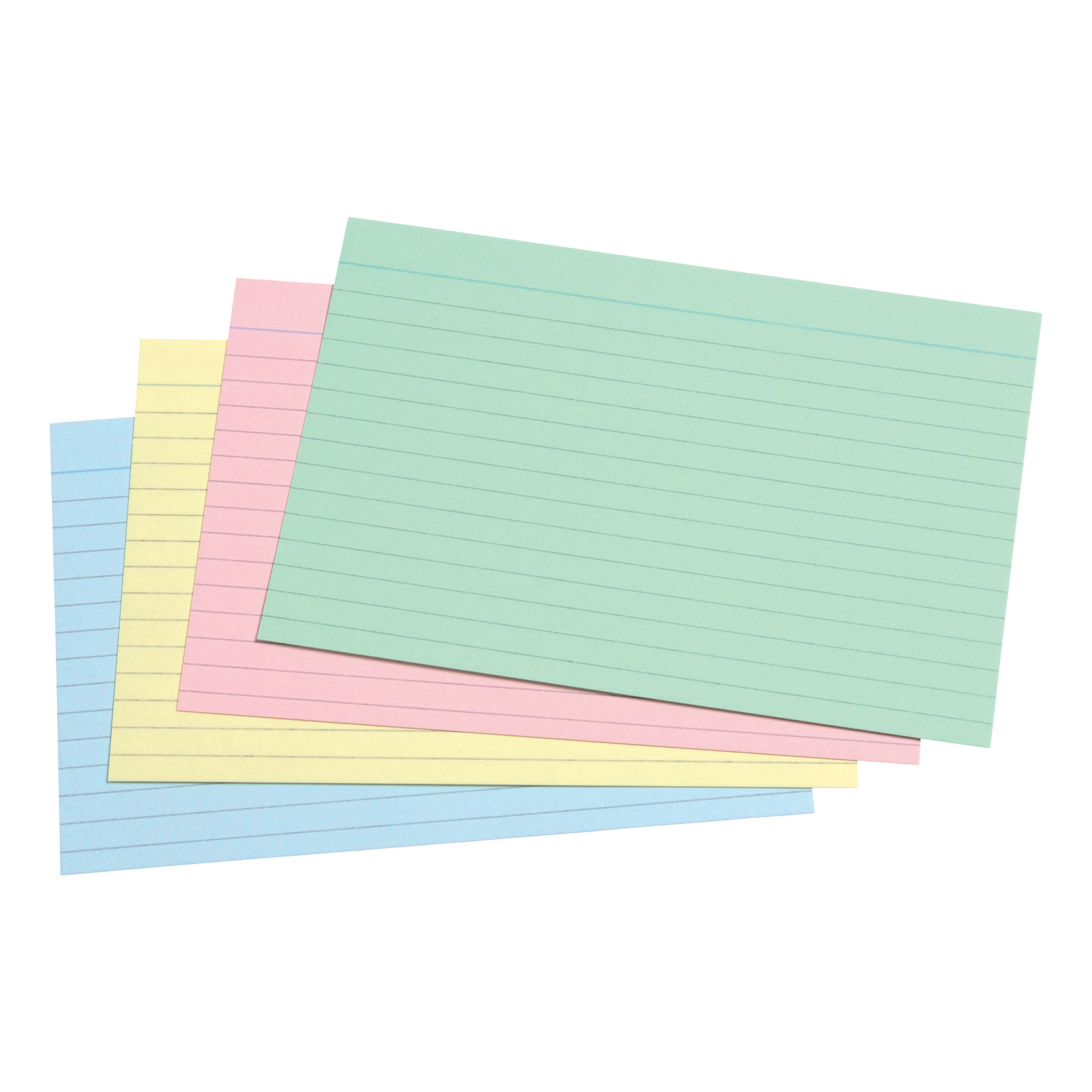 5 Star Office Record Cards Ruled Both Sides 6x4in 152x102mm Assorted Pack 100